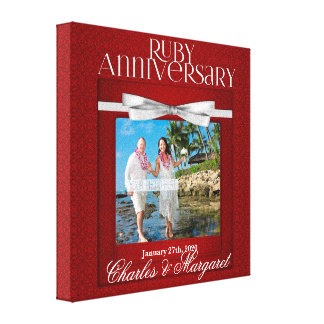 8x8-inch 40th Ruby Wedding Anniversary Red Damask Stretched Canvas Print