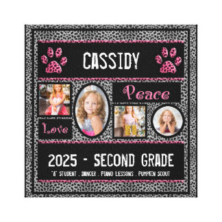 8x8 School Year Photo Collage in Silver Cheetah Stretched Canvas Print