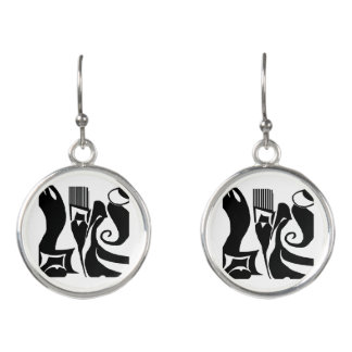 90 Abstract Black & White Drop Earrings