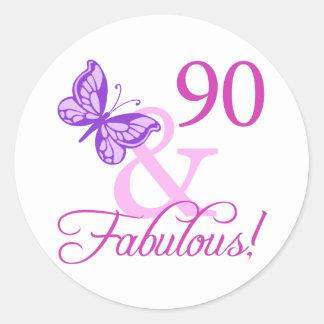 90 And Fabulous Birthday Gifts (Plum) Classic Round Sticker
