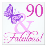 "90 And Fabulous Birthday Gifts (Plum) 5.25"" Square Invitation Card"
