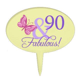 90 and Fabulous Oval Cakepick Cake Topper