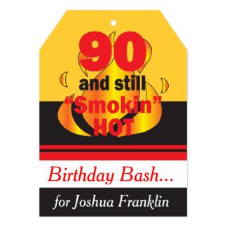 90 and Still Smokin Hot | 90th Birthday 13 Cm X 18 Cm Invitation Card