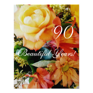 90 Beautiful Years!-Birthday/Yellow Rose Bouquet Personalized Invites