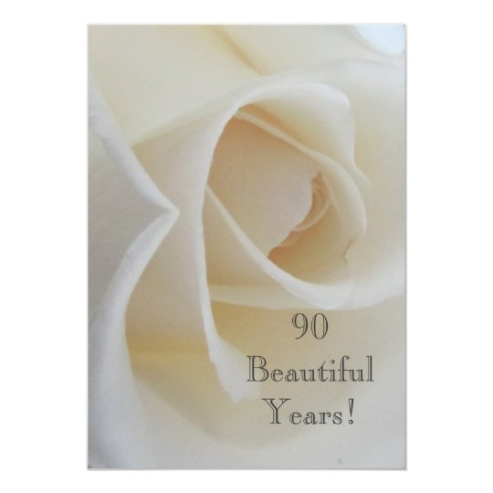 90 BeautifulYears Birthday Celebration/White Rose Card