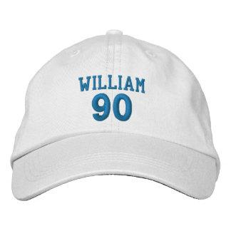 90 Birthday Custom Name BLUE Embroidery V01E Embroidered Cap