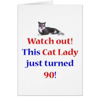 90 Cat Lady Greeting Card