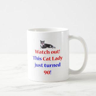 90 Cat Lady Classic White Coffee Mug