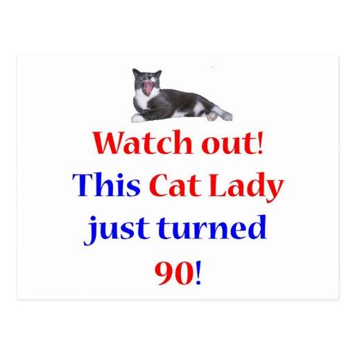 90 Cat Lady Postcard