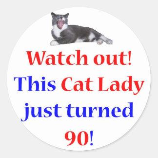 90 Cat Lady Classic Round Sticker