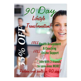 90 Day Lifestyle Transformation 2 Large Business Cards (Pack Of 100)
