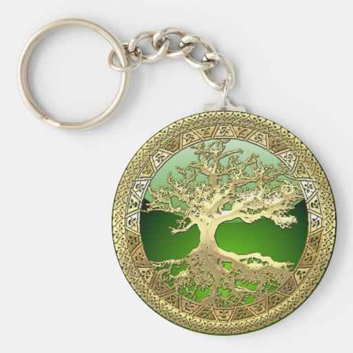 [90] Golden Celtic Tree of Life [3D] Key Chains