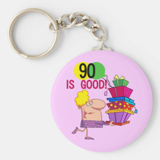 90 is Good Birthday Tshirts and Gifts Basic Round Button Key Ring