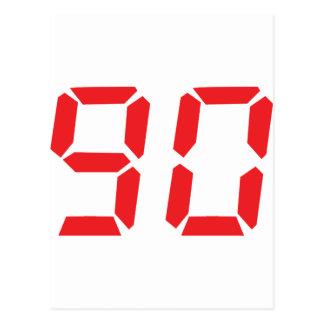 90 ninety red alarm clock digital number postcard