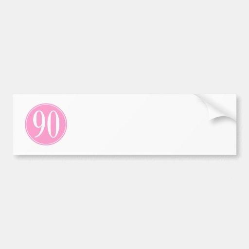#90 Pink Circle Bumper Stickers