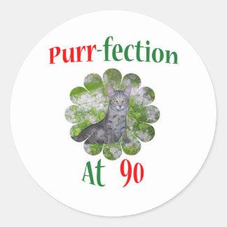 90 Purr-fection Classic Round Sticker