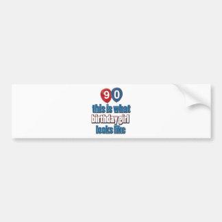 90 year birthday designs bumper sticker
