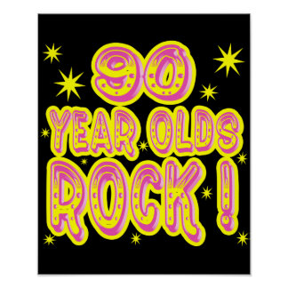90 Year Olds Rock! (Pink) Poster Print