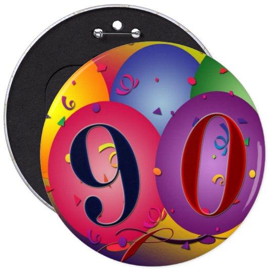 90 years! Birthday balloon button - Customised