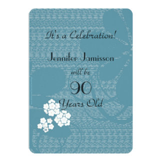 90 Years Old Blue Floral Birthday Party Invite