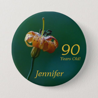 90 Years Old, Golden Lily Button Pin