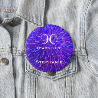 90 Years Old Personalized Purple Abstract Button