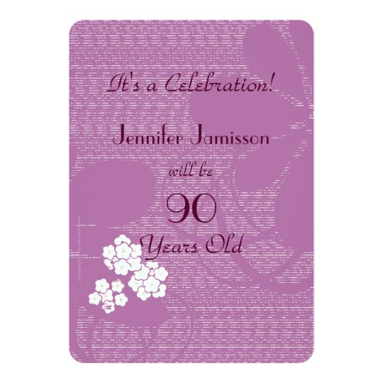 90 Years Old Purple Floral Birthday Party Invite