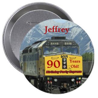 90 Years Old, Railroad Train Birthday Button Pin
