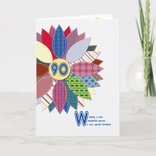 90 Years Old Stitched Flower Birthday Card