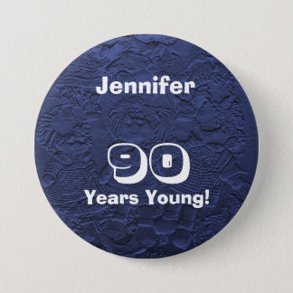90 Years Young Dark Blue Dolls Pin Birthday Gift