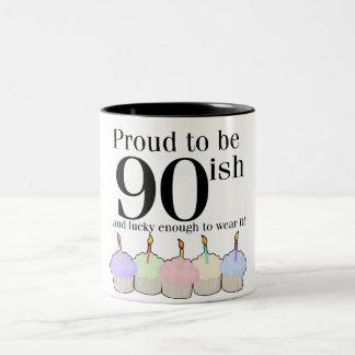 90ish Birthday Two-Tone Coffee Mug