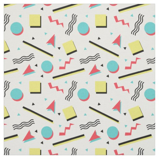 90s Inspired Retro Seamless Pattern Fabric