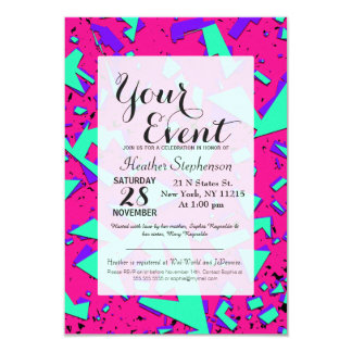 90s Teal and Pink Abstract Geometric Pattern 9 Cm X 13 Cm Invitation Card