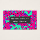 90s Teal and Pink Abstract Geometric Pattern Business Card