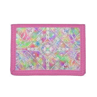 90s tribal pattern rainbow ombre tie dye tri-fold wallet