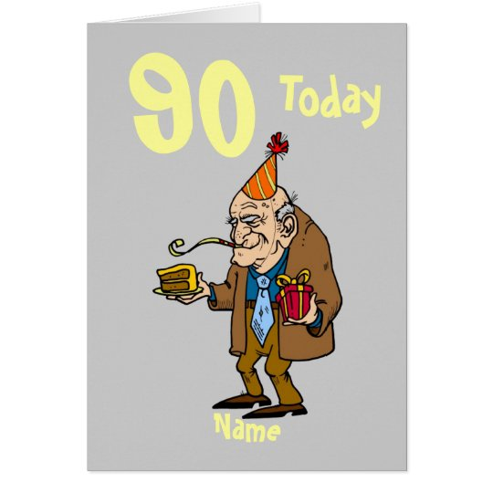 90th 90 today birthday cartoon personalized card