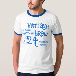 90th Birthday 1924 or Any Year Vintage Brew Blue T-Shirt