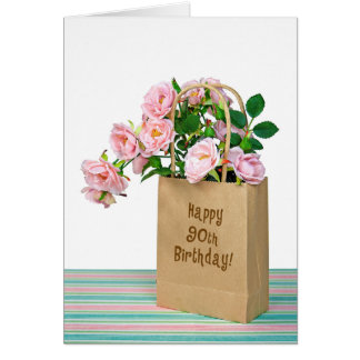 90th Birthday Bag with pink roses Greeting Card