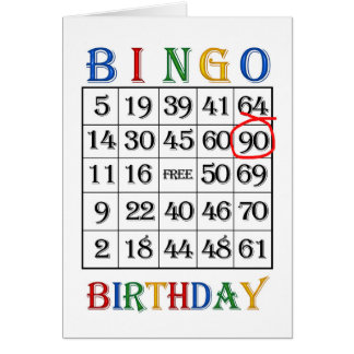 90th Birthday Bingo card
