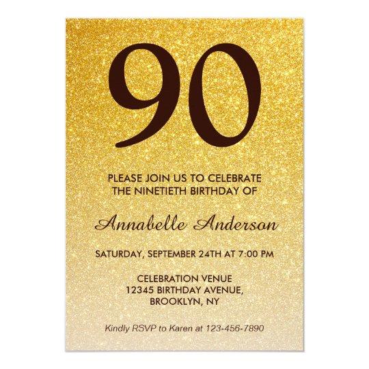 90th Birthday Black Gold Glitter Sparkle Ombre Invitation