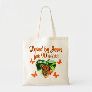 90TH BIRTHDAY BUTTERFLY BUDGET TOTE BAG