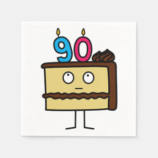 90th Birthday Cake with Candles Disposable Napkin