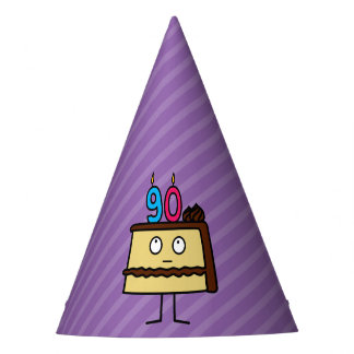 90th Birthday Cake with Candles Party Hat