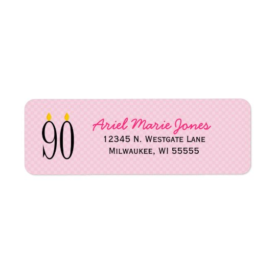 90th Birthday Candle Pink Return Address Labels