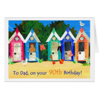 90th Birthday Card for a Father - Beach Huts