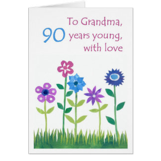 90th Birthday Card for a Grandmother - Flowers