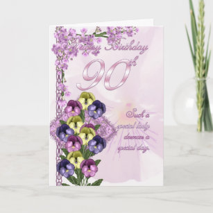 90th Birthday Card For A Special Lady