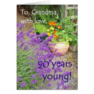 90th Birthday Card for Grandmother - Flower Garden