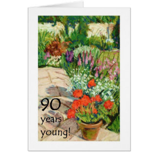 90th Birthday Card - Red Geraniums