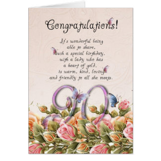 90th birthday card with butterflies and roses - co